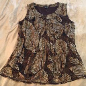 Brown leaf print top